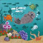 """Little Otters 17 - 4"""" x 4"""" - Oil on Canvas - Merry Kohn Buvia"""