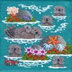 """Little Otters 18 - 4"""" x 4"""" - Oil on Canvas - Merry Kohn Buvia"""
