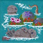 """Little Otters 20 - 4"""" x 4"""" - Oil on Canvas - Merry Kohn Buvia"""