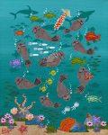 """Otter Frolic 3 - 10"""" x 8"""" - Oil on Canvas - Merry Kohn Buvia"""