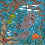 "Tiny Otters XX - 4"" x 4"" - Oil on Canvas - Merry Kohn Buvia"