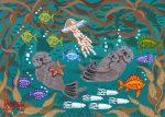 """Otter Family 2 - 5"""" x 7"""" - Oil on Canvas - Mary Kohn Buvia"""