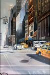 "Downtown Financial - 36"" x 24"" - Oil on Canvas - Thalia Stratton"