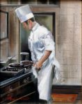"Chef in the Kitchen - 14"" x 11"" - Oil on Canvas - Thalia Stratton"