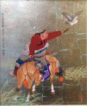 """Mongolian Falconor - 19"""" x 15"""" -Acrylic on Gold - Mou-Sien Tseng"""