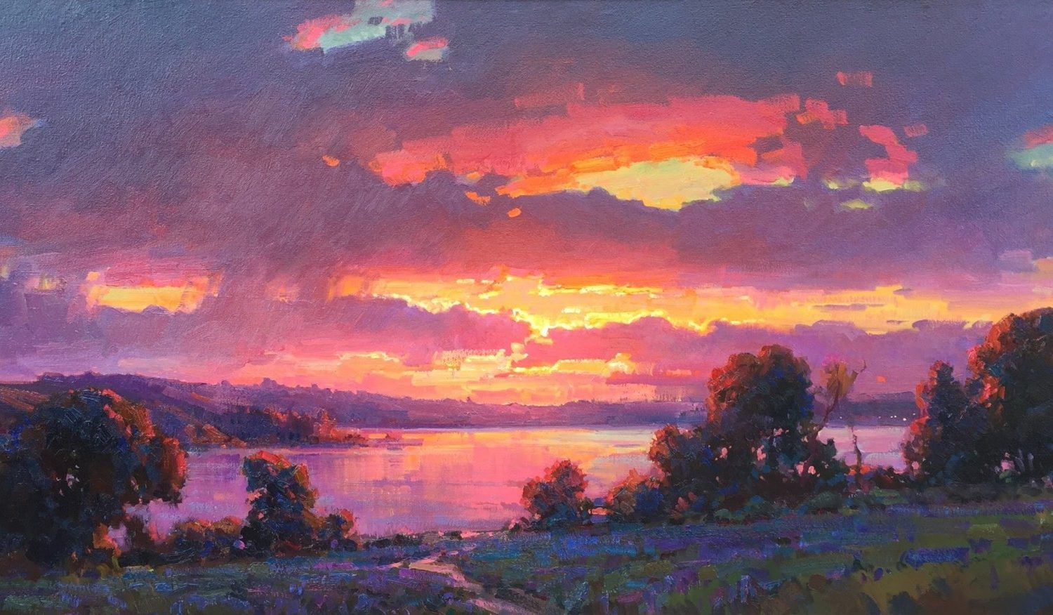 """Sunset by the Lake - 35"""" x 75"""" - Oil on Canvas - Ovanes Berberian"""