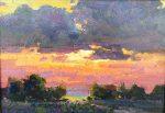 """Hidden Sun - 9"""" x 12.5"""" - OIl on Canvas - Ovanes Berberian"""