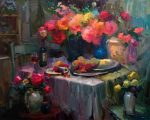 "Interior Still Life - 48"" x 60"" - Oil on Canvas - Ovanes Berberian"