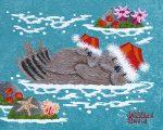 """Holiday Otters - 4"""" x 5"""" - Oil - Merry Kohn Buvia"""