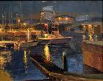 """The Wharf at Night - 16"""" x 20"""" - Oil - Jason Sacran"""