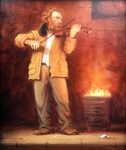 """Alley Concert - 10"""" x 8"""" - Oil - Richard Lithgow"""