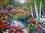 "In the Garden - 30"" x 40"" - Oil - Chan Tinyan"