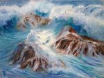 "Cross Waves - 9"" x 12"" - Oil on Canvas - Linda Petrie Bunch"