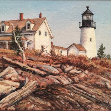 "Pemequid Light - 6"" x 8"" - Oil - Barbara Conley"