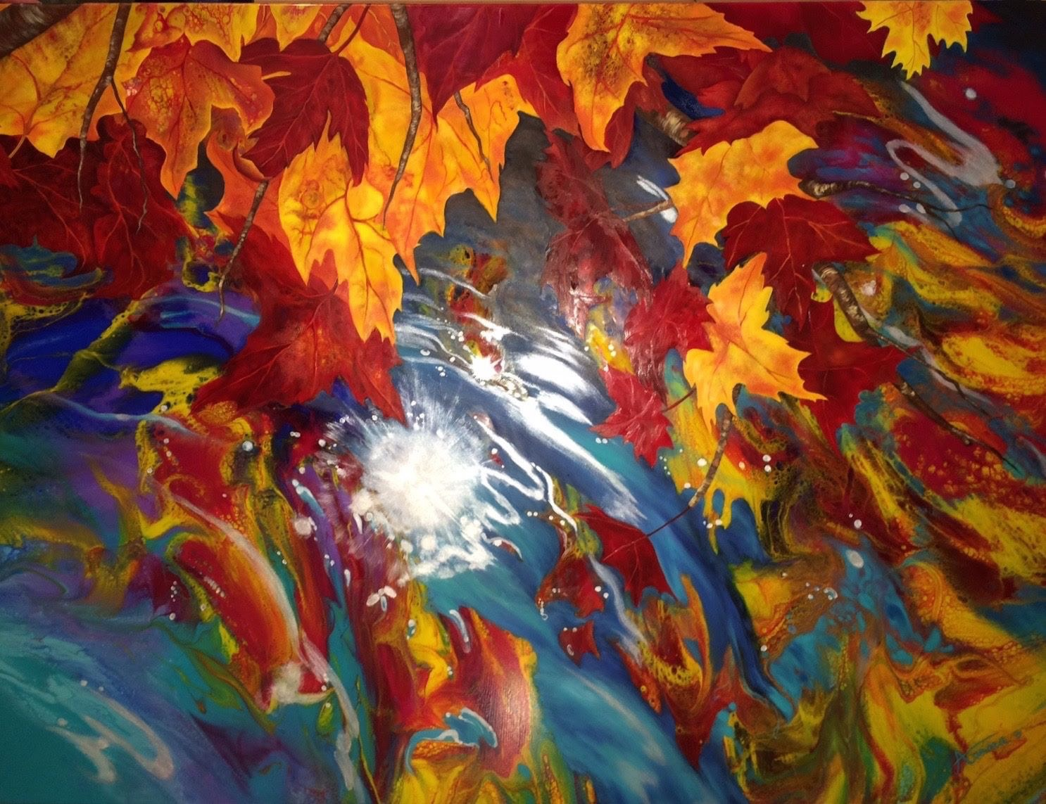 "Reflections of Fall - 30"" x 40"" - Aurora Aguirre"