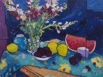 "Snapdragons Plums & Mangos Over Blue - 22"" x 29"" - Angus Wilson"