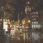 "Waiting for a Bus - 30"" x 30"" - Richard Boyer"