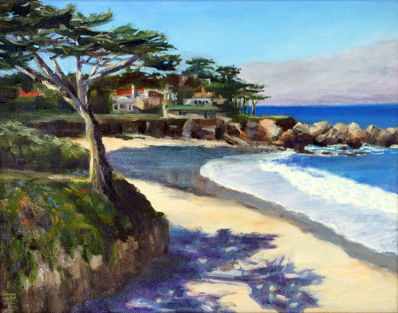 "Carmel Beach - 11"" x 14"" - Oil on Canvas - Linda Petrie Bunch"