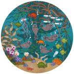 "Otter Garden 2 | 8"" x 8"" | Merry Kohn Buvia"
