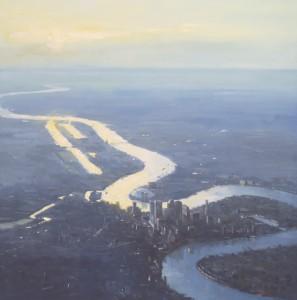"""London at 3000 meter - 40"""" x 40"""" - Richard Boyer"""