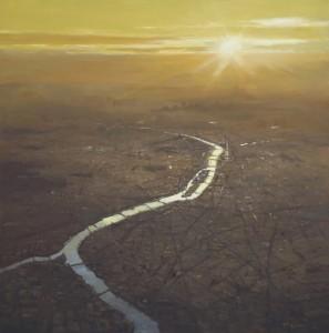 """Paris at 3000 meter - 40"""" x 40"""" - Richard Boyer"""