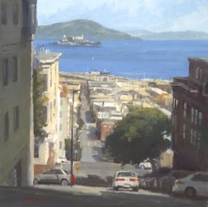 """View of Alcatraz - 20"""" x 20"""" - Richard Boyer"""