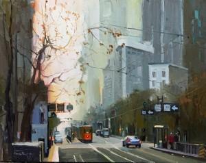 "Orange Street Car - 14"" x 14"" - Nancy Crookston"