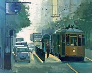 """Shopping in San Francisco - 24"""" x 24"""" - Nancy Crookston"""