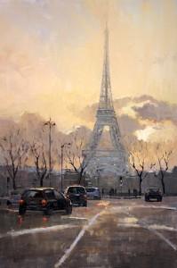 "Winter Sky on the Eiffel Tower - 36"" x 36"" - Phillipe Gandiol"