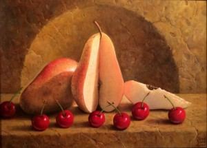 "Sliced Yellow Pear and Cherries - 9"" x 12"" - Jared Sines"