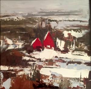 """Red Houses - 12"""" x 12"""" - Sandra Pratt"""