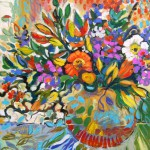 "Christine Reimer - Poppy and Tulip Take Flight - Acrylic - 28"" x 24"""