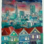 "San Francisco - 28"" x 22""- Reverse Glass Painting - Massimo Cruciani"