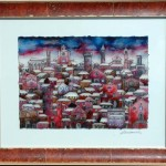 "Tetti con Neve - Oil on Glass - 22"" x 28"" - Reverse Glass Painting - Massimo Cruciani"