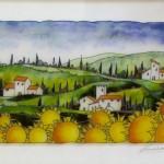 "Toscana con Girasoli - 16"" x 24"" - Reverse Glass Painting - Massimo Cruciani"