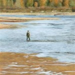 "Tiffany Hastie - Fishing Silvermere - Oil - 4"" x 2.25"""