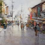 "Ian Ramsay | Street Scene, Kyoto | 19"" x 27"" | Watercolor"