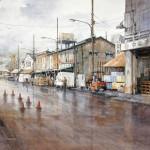 "Ian Ramsay | Tsukiji Market, Tokyo | 18"" x 24"" | Watercolor"