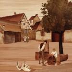 "Lochwiller - 18.50"" x 13.50"" - Marquetry - Jean Charles Spindler"
