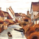 "Colmar Petite Venise - Marquetry - 30"" x 47"" - Marquetry - Jean Charles Spindler"