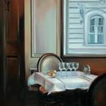 """Le Fregate, Rue de Bac - 36"""" x 24""""- Oil on Canvas - Thalia Stratton"""