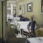 "Cozy Dining - 16"" x 16"" - Oil on Canvas - Thalia Stratton"