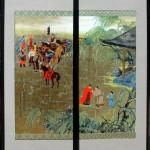 """Bidding Farewell to a Dear Friend - 40"""" x 20"""" - Acrylic on Board - Mou-Sien Tseng"""