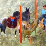 Stable - 20 x 40 - Acrylic on Gold - Mou-Sien Tseng