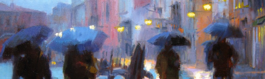 "Winter Rain in Venice #10 - 16"" x 20"" - Oil on Canvas - Tae Park"