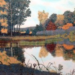 "Autumn Pond- 17.25"" x 24"" - Reduction Woodcut Print - Gordon Mortensen"