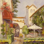 "Cypress Inn Patio - 24"" x 24"" - Oil - Dorothy Spangler"
