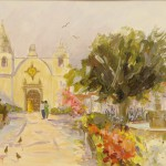 "A Special Visit - Carmel Mission - 12"" x 16"" - Oil - Dorothy Spangler"