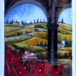 "COLONNA TOSCANA CON PARAVERI - 28"" x 22"" - Reverse Glass Painting - Massimo Cruciani"