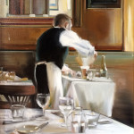 """Cafe De La Presse - 20"""" x 16"""" - Oil on Canvas - Thalia Stratton"""